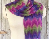 Multi-colored Merino Wool Chevron Striped Scarf in Pink, Purple Blue Green