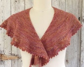 Pure Alpaca Shawl with Hand Dyed Yarn in Persimmon & Gold Colorway