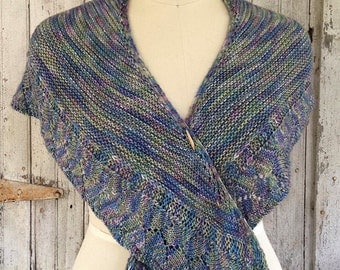 Merino Wool Shawlette in Blues, Purples & Greens Mulitcolored Hand Dyed Yarn