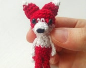 Kawaii Mini Bjd Sized Fox Plush/ Amigurumi Red And White Crocheted Fox Doll / Dollhouse Miniature Or Prop Pet Accessory / Tiny Toy OOAK