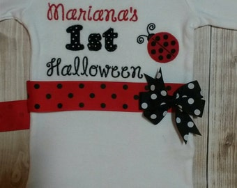 Ladybug Themed Bodysuit for Baby girl's first Halloween!