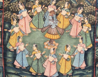 "Pichwai Painting of Circle Dance Krishna Pichvai, Wall Tapestry, Wall Hanging-HUGE-58x82""inches"