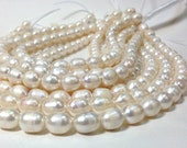 11 x 12 to 15 mm Large Hole Freshwater Pearl Rice Beads 15.5 inch - White 2.5 mm hole - Large Rice Pearl (ET1356W135) (BH)