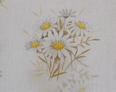 Vintage Tablecloth, Cotton Blend, White Dots and Daisies