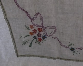 Vintage Tablecloth , Off White Linen with Lilac Bows and Floral Embroidery