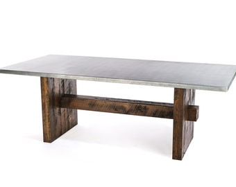 Zinc Table Zinc Dining Table  - The Redford Zinc Metal Top Dining Table Custom Sizes Available