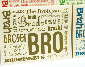 Bro Greeting Cards - Set of 4 Thank You notes with envelopes, Groomsman Cards, gifts for men
