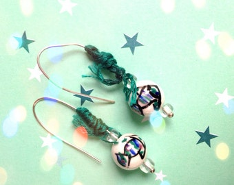 Silver ceramic fish earrings