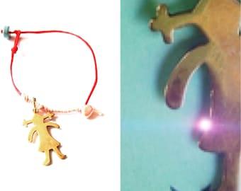 Golden girl bracelet-girly gift for teen- red thread jewelry- dangle charm bracelet- cute kids bracelet- small hand child bracelet- tiny red