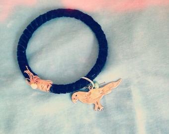 Black velvet bird bracelet-black gold jewelry- dangle bangle with pearl- bird bracelet- bird jewelry- jewels for daughter- woodland chic