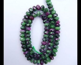 Ruby And Zoisite Faceted Loose bead,1 Stand,40cm In the Lenght,8x5mm,50.28g