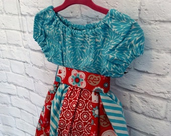 Red and Turquoise Peasant Dress