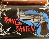 Gun, bang bang,rockabilly, Psychobilly , tattoo art, lowbrow art, hand painted purse in one shot enamel