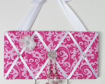READY TO SHIP, Girls Original French Jewelry and Accessory holder - dark pink/light pink