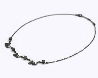 Dainty And Minimalist Black Necklace, Dainty Black Necklace, Minimalist Necklace, Japanese Love Word Necklace, Black Necklace Chain