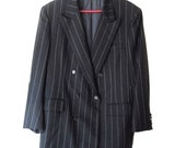 Men's Vintage Black Pinstripe Suit Jacket - Custom Made - 1930s Gangster Style - Bonnie & Clyde Costume