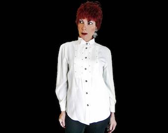 Womens Rhinestone Tuxedo Shirt - 80s Vintage Rayon - White Rayon Long Sleeve Blouse - Rhinestones - White Rayon Shirt -Retro Tux Shirt Women