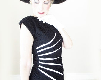50s Dress - Vintage Black Wiggle Dress - Cotton Eyelet Sheath - 1950s Bodycon