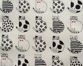 Japanese cotton fabric cat printed Half yard white colour