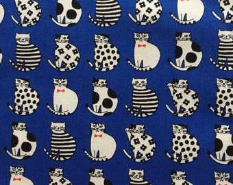 Japanese cotton fabric cat printed Half yard blue colour
