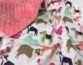 Minky Baby Blanket, Dogs, Baby Girl, Pink, Coral, Mint Green, Choose Minky Color