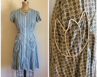 1940s Zip Front House Dress 40s Simplicity Frocks