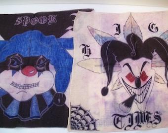 Craft Supplies, Set of 2 Clown Scarves, 2 Clown Batik Art, Evil Clowns, Insane Clowns, Handmade Clown Bandannas,