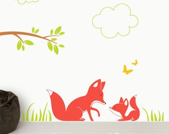 Fox Wall Art, Animals in the Forest Wall Decals, Foxes Baby Nursey Wall Stickers, Woodland Nursery Decor, Forest Animal Australian Made
