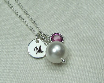 Pearl Initial Necklace Personalized Bridesmaid Jewelry Bridesmaid Gift Mother of the Bride Gift Monogram Necklace Birthstone Necklace