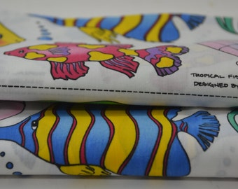 Tropical Fish Fabric Vintage Fabric by the yard