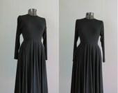 Vintage 1980s Liz Claiborne Black Minimalist Dress. 80s Full Skirt LBD. Size Small