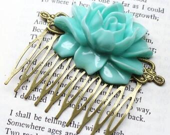 Statement Mint Green Rose Hair Comb Retro Bronze Bridal Jewelry