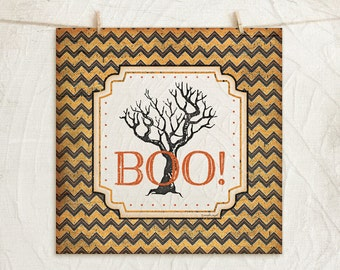 Halloween Boo - 12x12 Art Print -Wall, Vintage, Home Decor, Holiday, Halloween, Word Art, Scary Tree -Black, Orange, White