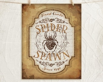 Spider Spawn 11x14 Giclée Art Print -Halloween, Holiday, Fall, Home, Wall Decor -Vintage Chic -Gold, Brown, White