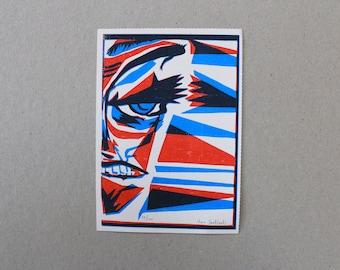 Red and Blue A6 Screenprint Art Print Postcard