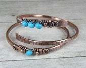 Copper Bangles, Magnesite Turquoise Bracelets, Set of Two, 2 Hammered Copper Bracelets, Wire Wrapped Bracelets, Stacking Bangles