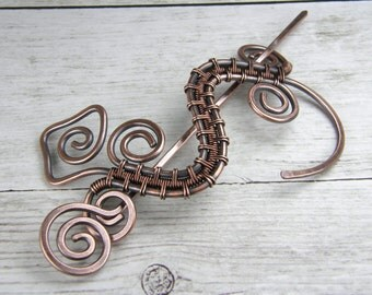 New Design, Wire Wrapped Gecko Antiqued Copper Shawl Pin, Scarf Pin, Brooch - Made In USA