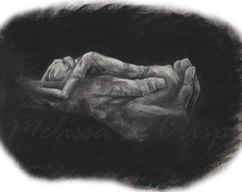 Untitled 2 Charcoal Woman in Hand-Curled-10X14 Fine Art Giclée Print on Paper