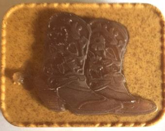 Cowgirl Boots Soap/glycerin/goat's milk/brown/ aqua spa/western
