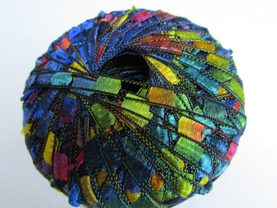 trellis ribbon yarn by lion brand in rainbow