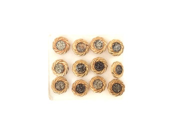 6 Silver Glitter & Gold Vintage Buttons