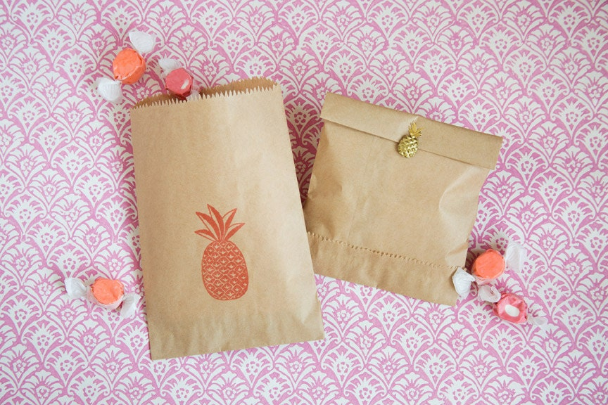 Pineapple Paper Favor Bags Pineapple Wedding Favors Beach