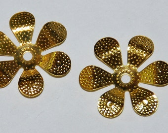 30 pcs 17mm Gold Beaded 6 Petal Flower Bendable Bead Caps