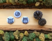 "Creatures of the Night Magnets - Owl Wolf Full Moon - Animal Magnets - Woodland Home Decor - 1.5"" fridge magnet"