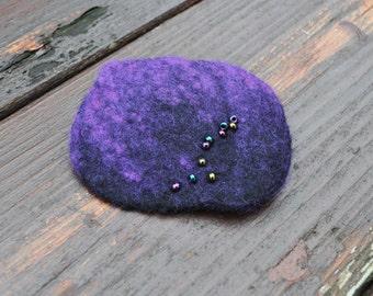 Felted brooch, silk brooch, felt, nuno felt, black, blue, green, purple