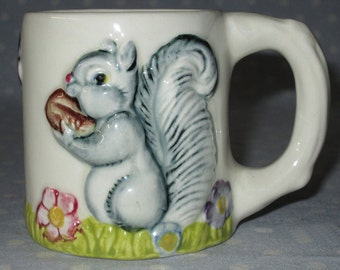 Vintage Baby Juice Cup Mug Fluffy Gray Squirrel Flowers Nuts Made by CEMAR 504 Raised Design