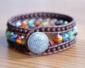 Multicolor Beaded Leather cuff, bohemian bracelet, Shabby chic, picasso finish, brown, mix, trendy jewelry, by OlenaDesigns