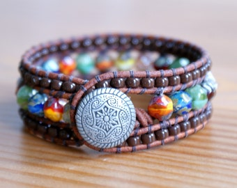Multicolor Beaded Leather cuff, bohemian Mandala bracelet, Shabby chic, picasso finish, brown, mix, trendy jewelry, by OlenaDesigns