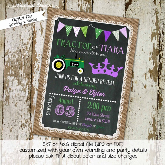 surprise gender burlap tractor tiara rustic chic diaper wipe brunch baby shower invitation twins brother sister reveal 1403 Katiedid Designs