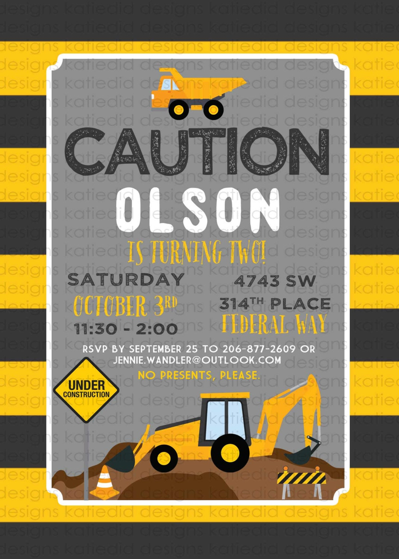 construction birthday invitations baby boy shower vintage party, Baby shower